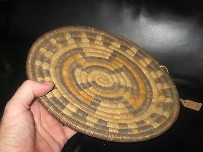 Old Hopi Coil Basket Native American Indian Tray Hand Woven Weaving~Low Start!