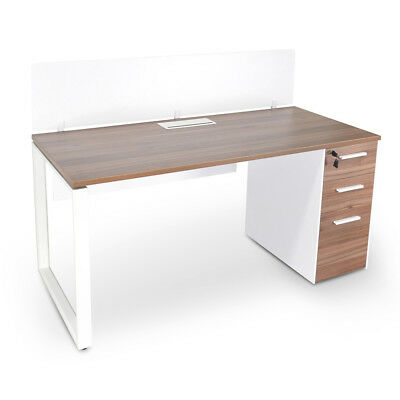 Halo 1 Seater Office Desk With Privacy Screen - Upgraded Legs - Walnut