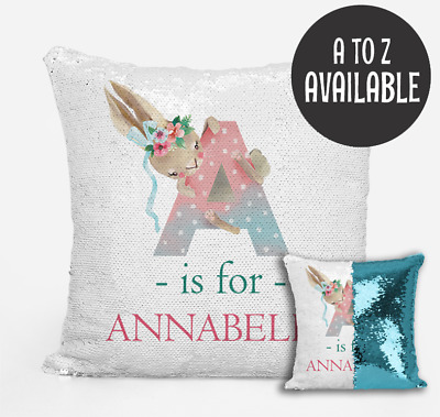 Personalised Baby Cushion Cover Magic Sequins Reversible Baby Shower Gift A to Z