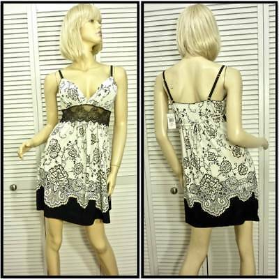 NWT $78 IN BLOOM by JONQUIL Chemise Gown MEDIUM Ivory & Black Floral Stretchy
