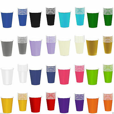 10 Paper CUPS (9oz) - Plain Solid Colours Birthday Party Tableware Catering NEW