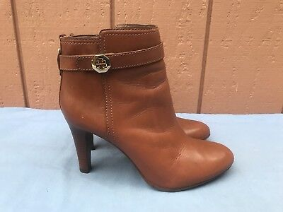 3674a286eced EUC Tory Burch US 8.5M Bristol Brown Leather Belted Logo Ankle Boots Booties  A8