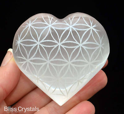 Laser Etched SELENITE HEART Flower of Life Pattern - Healing Crystal #SH11