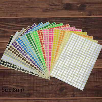 6mm to 25mm 16 Colors Dots Stickers Round Spot Bound Tags Paper Labels Adhesive