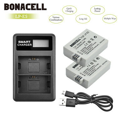 2 Pack LP-E5 Batteries+ LCD Dual Charger For Canon Rebel T1i XS XSi 450D 500D BT