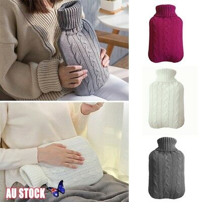 2 Litre Rubber Knitted Cover Hot Water Bottle Bag Cover Winter Bed Warmer New