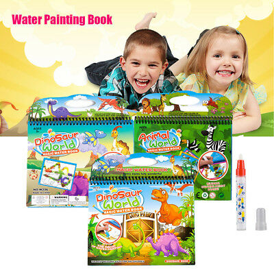 Kids Water Magic Painting Book Gift Set Colouring No Messy for Children with Pen