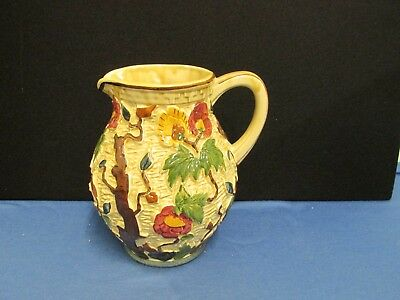 "1960's Handpainted Indian Tree HJ Wood 585 8.5"" Pitcher Jug"