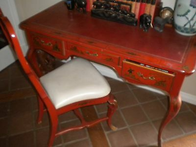 Mid-Century Chinoiserie Asian Red Desk & Chair