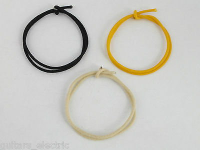 """12"""" or 24"""" BLACK YELLOW WHITE Waxed Cloth Covered guitar hook up wire 22 AWG"""