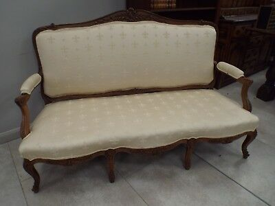 Antique French Louis XV 18th Century Walnut Sofa Settee