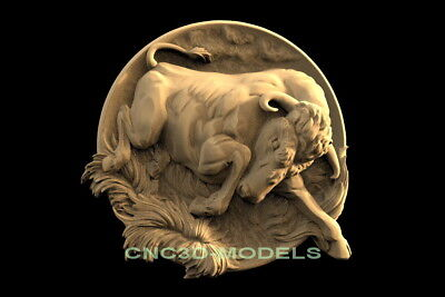3D Model STL for CNC Router Engraver Carving Artcam Aspire Animal Bull f640
