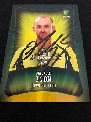 Nathan Lyon Hand Signed 2016 Tap'N'Play Australian Cricket ODI Card