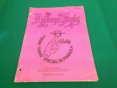 Bally Midway The Addams Family Pinball Original Manual