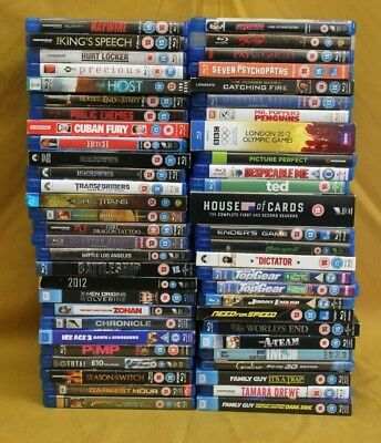 Job Lot x50 Blu-Ray DVD's Mixed Genres Inc Top Gear/Ted etc (Hospiscare)