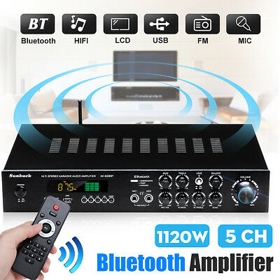 1120W 5CH Bluetooth Hi-Fi Power Amplifier Digital Stereo Karaoke Home FM Radio