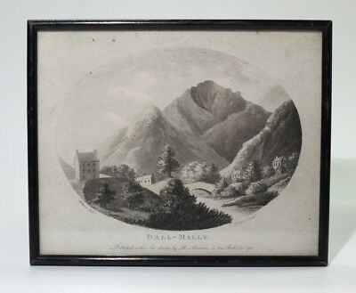 Rare Scottish Georgian Antique Jukes Stipple Engraving Dallmally Perthsire 1793.