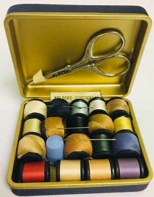 Vtg Belding Corticelli Small Travel Sewing Kit  Scissors Thimble Thread Needle