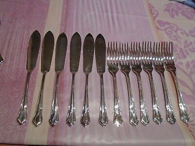 Vintage Cutlery Set Silver Plated Fish Knives & Forks Hf&co Harrison Fisher & Co