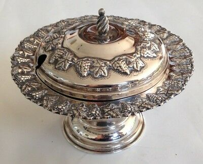 Beautiful Vintage 25 Silver Covered Caviar Jam Dish Decorated With Vine Leaves