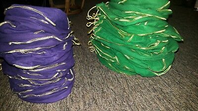 Lot of 100 CROWN ROYAL GREEN PURPLE FELT BAGS 1 LITER BRAND NEW- free shipping
