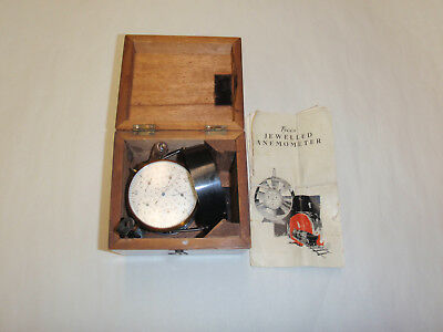 Vintage Tycos Jeweled Anemometer in Original Wooden Case with Instructions