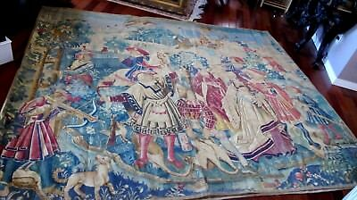 """19th Century French Aubusson Tapestry Woven Royal Hunt With Falcons 96"""" x 81"""""""