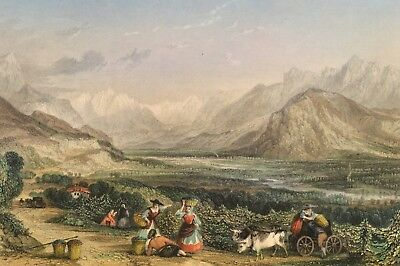 Valley of the Isère between Voirons & Voireppe 1840 Original Antique Print Allom
