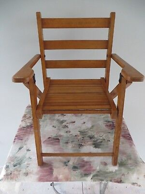 Vintage Child Slatted Wood Wooden Folding Seat Kids Child's Doll Arm Chair
