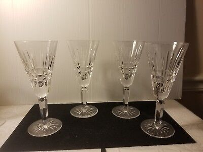 """Set of 4  Waterford Glenmore Crystal Stemware Wine/Water/Champagne Flutes 7 1/4"""""""
