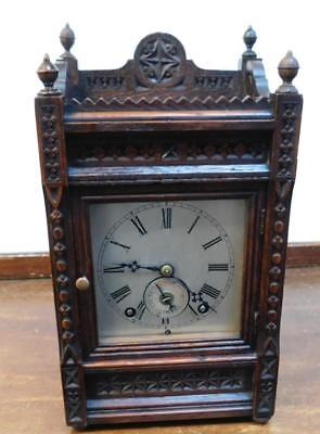 small winterhalder& hoffmeir carved oak bracket alarm clock