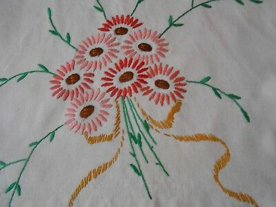 Beautiful Vintage  Linen Hand Embroidered Cushion Cover