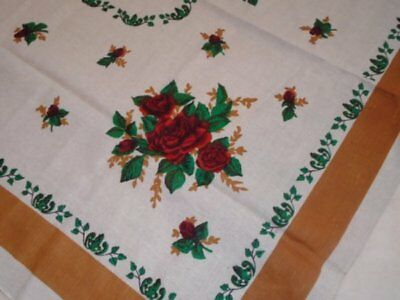 Vtg Unused Linen Tablecloth Red Roses on Ecru w/Golden Brown Borders 55 x 69
