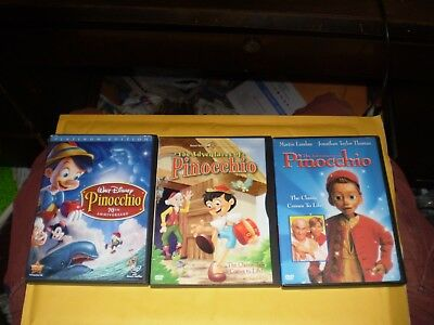 (3) Pinocchio Children's DVD Lot: Disney Platinum Edition & Warner Bros. Adv. of