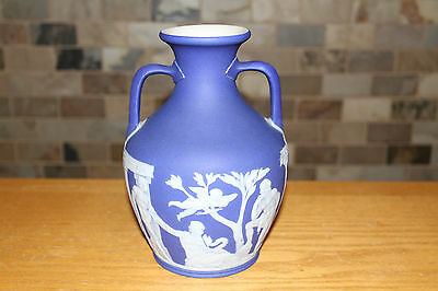 "Rare Antique Wedgwood Dark Blue Jasperware 8"" Large Portland Vase (c.1840)"