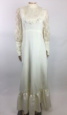 Vtg Women's Wedding Dress Ivory Lace Southern Belle Ruffle  Tiered Prairie S3-34