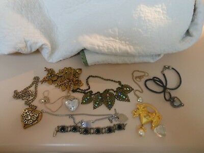 Lot of vintage heart & rhinestone, faux pearls etc...nice for Valentine's day!!!