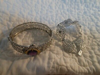 antique Victorian rhodium filigree bracelet lot....very nice!!