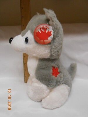 New plush Canadian Husky w/ Canada leaf logo Cute collectible puppy usa seller