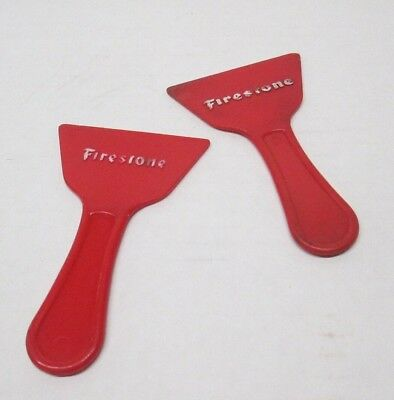 VTG Lot of 2 Firestone Mini Ice Scraper Advertising Premium Santin Chevrolet CT