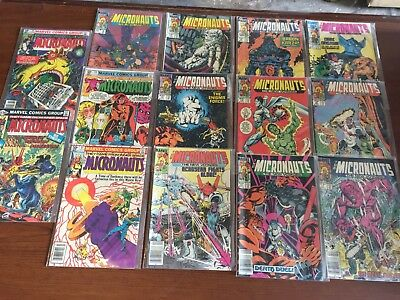 Lot of 14 MICRONAUTS Comic Books by MARVEL! Bronze Copper age NICE! 097