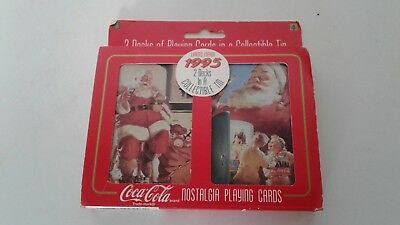 NEW Limited Edition Coca-Cola Set of 2 Deck Nostalgia Playing Cards 1995 NIB
