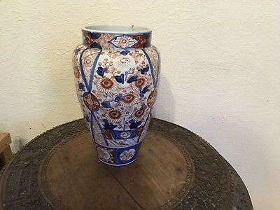 Antique late 19th Japanese Imari Porcelain Lamp Base AF