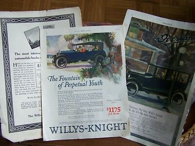 "3 Vintage ""willy's-Overland"" Automobile Magazine Ads-"