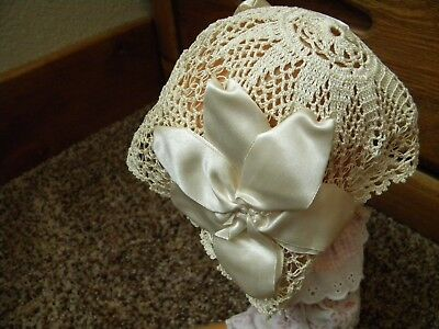 Vintage Crochet Satin Flower Baby Hat Bonnet Ivory with Ribbon Doll Accessory
