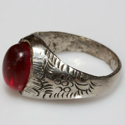 Intact Medieval Greek Silver Ring With Nice Orange Gem Stone Circa 1500 Ad