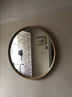 Vintage Retro Mid Century Wooden Recessed Rimmed Extra Large Round Wall Mirror
