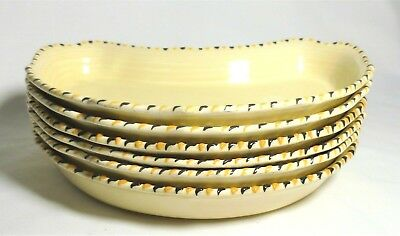 "6 Crown Ducal Art Deco ""cotswold Stitch""  Crescent Shaped Dishes Charlotte Rhead"