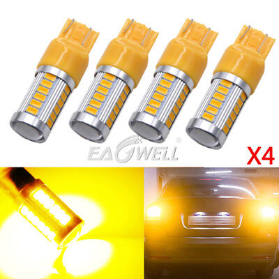 4x T20 Yellow 7443 7440 5630 33-SMD LED Dome Map Car Backup Reverse Lights Bulbs