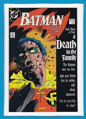 """Batman #428_Dec 1988_Very Fine/near Mint_""""a Death In The Family""""_Part 3 Of 4!"""